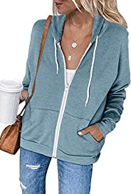 osazic Women Long Sleeve Cardigan Zip-Up Hoodie Jacket Sweatshirt Top Outwear Coat with Pocket S-2XL