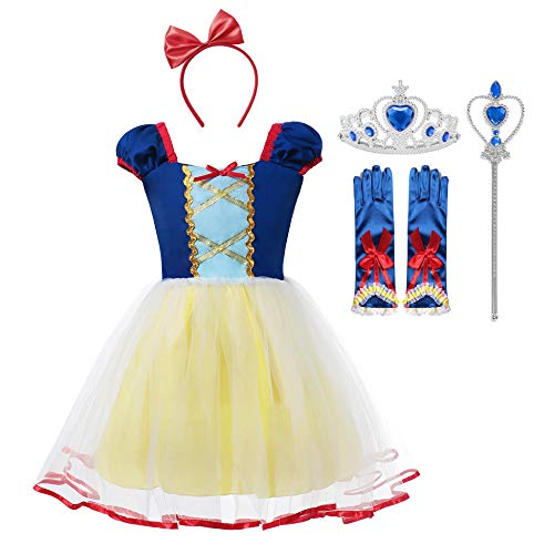 Princess Belle Snow White Rapunzel Cinderella Little Mermaid Costume Dress for Toddler Girls Cosplay (Snow White, 4-5 Years) -