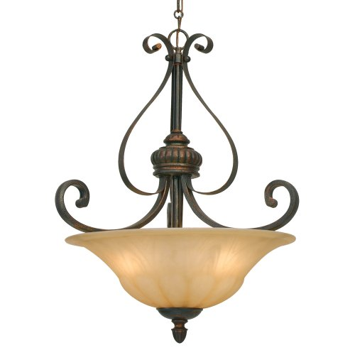 Lc Leather Crackle Finish - Golden Lighting 7116-3P LC Mayfair Pendant-Bowl, Fixture Size: 18 W x 22.5-Inch H, Leather Crackle