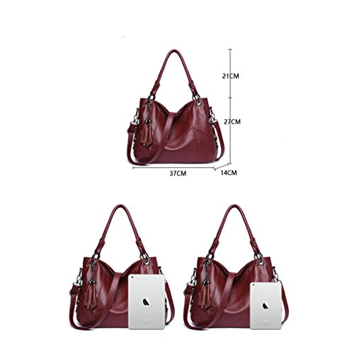 Bolso viajero Red Work decorativo para Blue de Purple Bolso sólido Red de Bolso Travel de mujer Color de grande color Bolso Red el hombro simple borla Out Black mensajero xzHgUqw