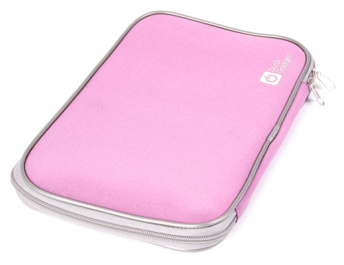 """DURAGADGET Baby Pink """"Travel"""" Water Resistant Soft Neoprene Carry Case With Dual Zips For Micromax Dual-Boot Android/Windows 8.1 Tablet"""