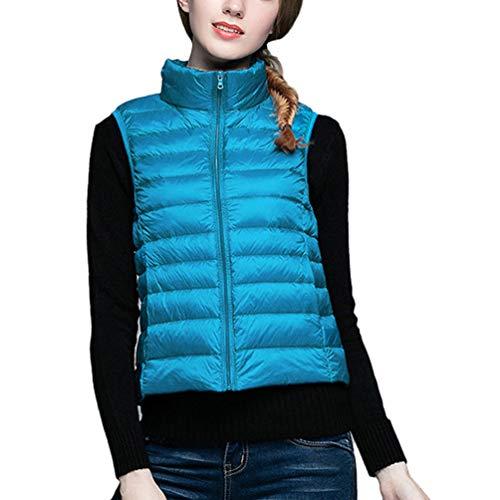 Hiver Yiijee Blouson Sans Manteau Femme Gilet Zippée Ultra Veste Manche  Bleu Doudoune Légère v6Ovqwr aaa60eef436