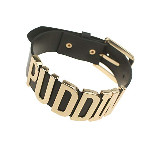 Coolcoco Adjustable Fashion High Neck Black Belt Letter