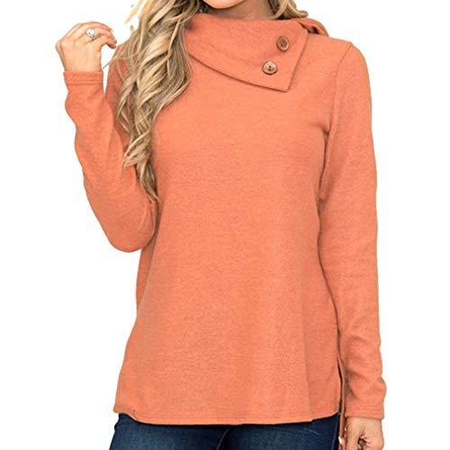 2xl Sport Décoration Mode S Pull La Haut Pour Pull Chaud Sweatshirts Décontracté Femmes De Hauts Confortablement Manches Orange Sweat Boutonné Longues Col Shirt Top Femmes qFqgZ60w