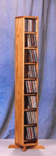 (Dowel CD Storage Tower (Honey Oak))