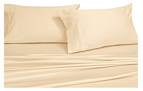 Split-King: Adjustable King Bed Sheets 5PC Solid Ivory 100% Cotton 600-Thread-Count, Deep Pocket ()