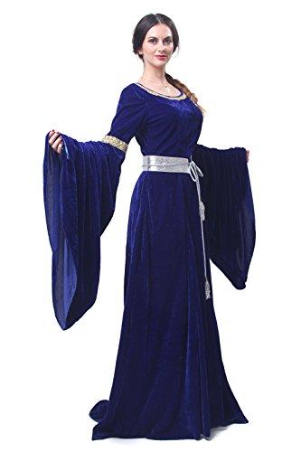 Nuoqi Women's Blue Bordeaux Victorian Dress Renaissance (Light Blue Renaissance Dress)