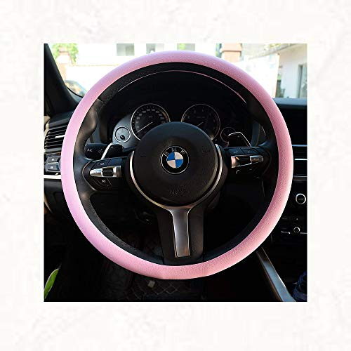 OHF Steering Wheel Cover Auto Car Silicone Great Grip Anti-Slip Steering Cover for Diameter 36-38cm/14-15inch(Pink)