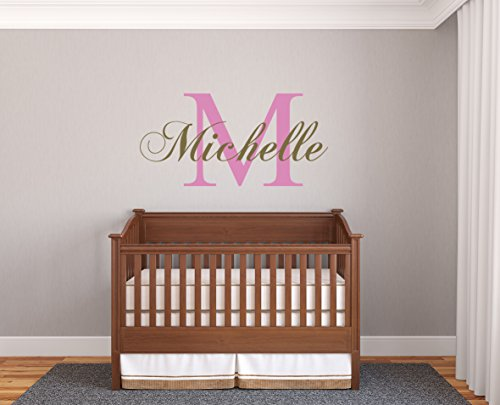 Personalized Name & Initial Classic Edition - Prime Series - Baby Girl - Nursery Wall Decal For Baby Room Decorations - Mural Wall Decal Sticker For Home Children's Bedroom(MM39) (Wide 32