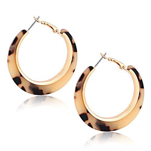 (XOCARTIGE Acrylic Hoop Earrings for Women Tortoise Resin Earrings Bohemia Statement Dangle Earring Studs for Girls (A Light Brown))