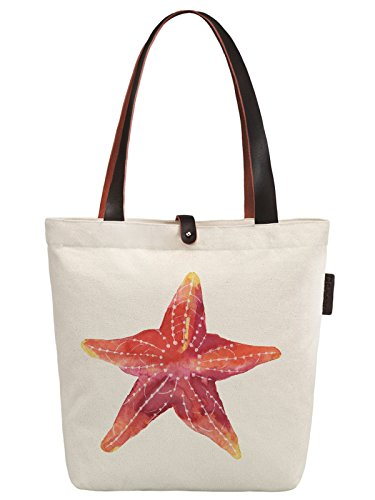 So'each Women's Marine Organism Starfish Canvas Handbag Tote Shoulder Bag