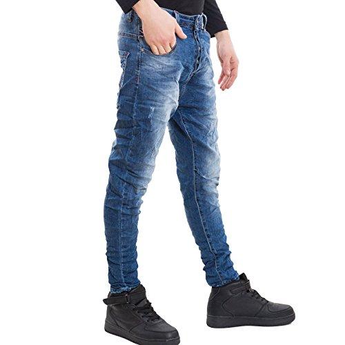 Cavallo Sarouel Uomo Jeans Toocool Denim Nuovi Bottoni Blu Basso M240 Harem Cotone Pantaloni qfxpO