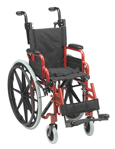diatric Folding Wheelchair, Red, 12 Inch (Pediatric Wheelchair)