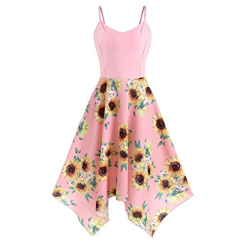 Dresses for Women Casual Summer Plus Size, Fashion Womens Sunflower Print Asymmetric Camis Handkerchief Dress Pink