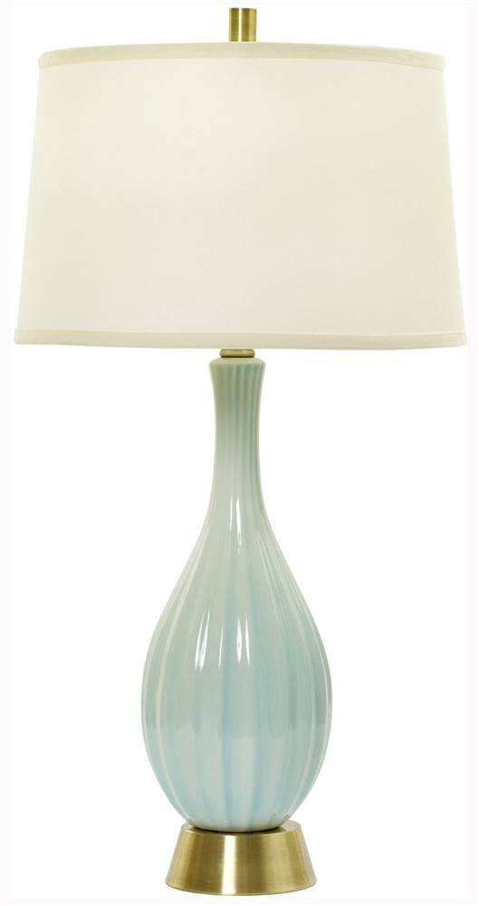 Fangio Lighting W-MR8906SPA BLUE CR 32'' Ceramic Table Lamp with Ripple Design, Spa Blue Crackle
