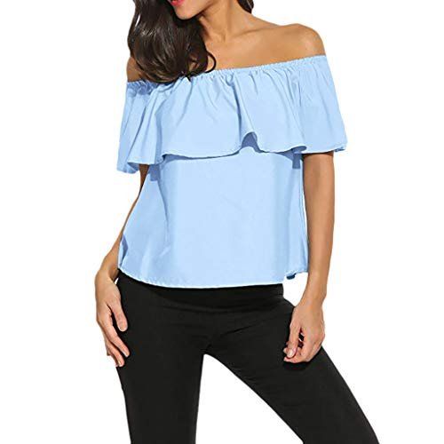 RIUDA Women's Off Shoulder Ruffles Solid Casual Blouse Loose Sexy Shirt Tops Blue