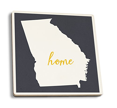 Georgia - Home State - White on Gray (Set of 4 Ceramic Coasters - Cork-Backed, Absorbent) ()