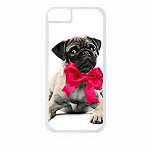 Pug with a Pink Bow- For SamSung Galaxy S3 Phone Case Cover Universal-Hard White Plastic Outer Shell with Inner Soft Black Hard Lining