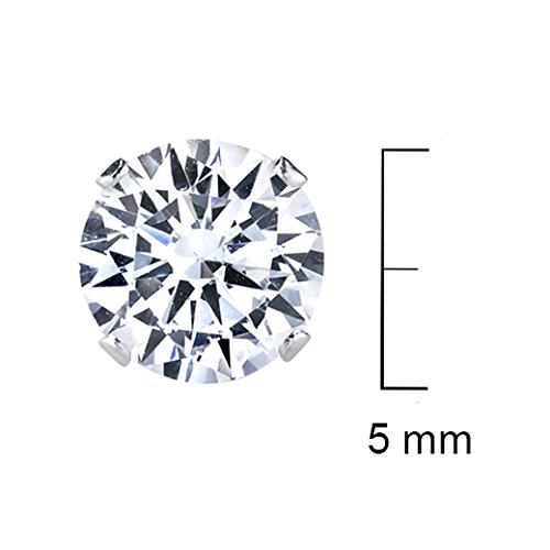 Pack of 3 Pairs Sterling Silver Pairs of 2mm to 6mm Cubic Zirconia Stud Earrings