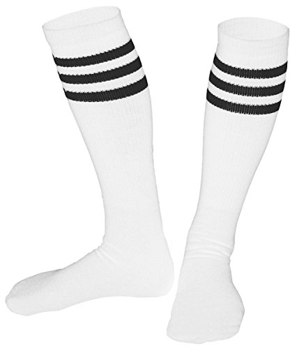 [Knee High Socks | Tube Socks with Stripes | Athletic, Warm, + More| Made in USA, 3 pack,] (Old School Basketball Halloween Costume)