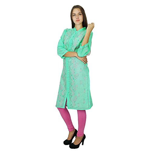Diseñador de Bollywood Kurta Chikan bordado vestido de las mujeres de algodón Kurti Sea Green-1