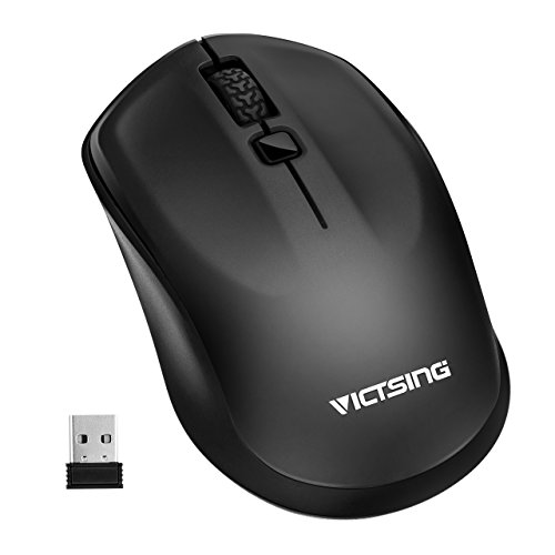 VicTsing Ergonomic Design Wireless Mouse Mobile Portable Computer Mouse with Nano Receiver, 3 Adjustable DPI Levels (1600/1200/800), Long Battery Life for PC, Laptop, Notebook, Macbook - Black