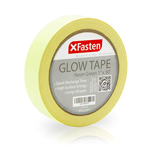 (XFasten Glow in The Dark Tape, Yellow/Green, 1-Inch x 30-Foot Photo-Luminescent Glow Dark Duct)