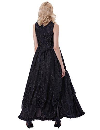 Bp378 Kleid Damen Poque Schwarz Gothic Kleid Belle Lang 1 Steampunk Corsagenkleid wzC6qpp