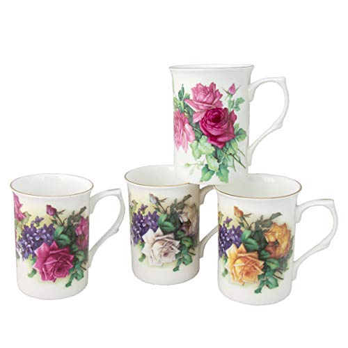 Gracie Bone China Classic English Garden Rose 10-Ounce Mug, Set of 4