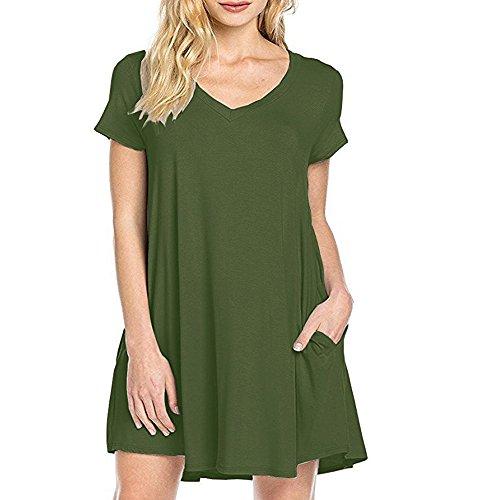 de Vestidos Casual Verde Vestidos Ejército los Cuello Vestidos Mujeres Camiseta Las de Manga de Rodilla Casuales Corta Bolsillos la Corta Verano de de DEFOV de Vestidos Manga V hasta Ywf74q7