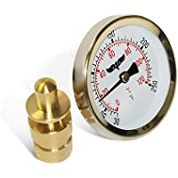 Raven R1517-NL In Line Hot Water Thermometer With SWT Well, Circular Dial, Bi-Metallic Element; Aluminum Stem & Case Material, Connection Back, Adjustable Angle, Lead Free, Economical & Accurate