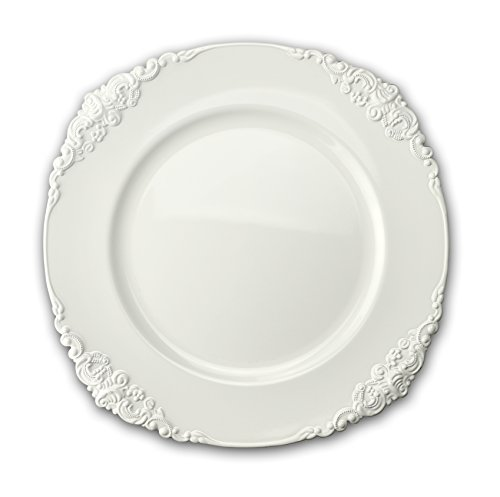 OCCASIONS 10 Pcs. 13'' Wedding Charger Plates (Scalloped Antique White) Antique White Scalloped