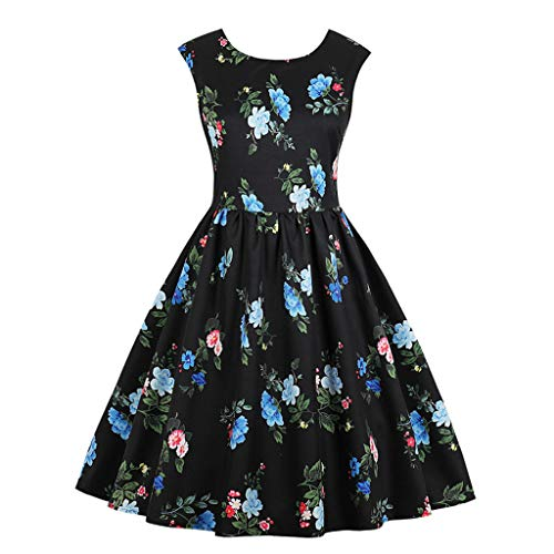 ANJUNIE Women Vintage Style Sleeveless O Neck Evening Polka Party Prom Swing Dress(Black1,L) ()