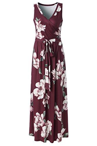Zattcas Womens Bohemian Printed Wrap Bodice Sleeveless Crossover Maxi Dress (Small, Wine Red-1) ()