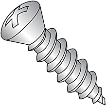 "18-8 Stainless Steel Sheet Metal Screw, Plain Finish, #6 Trim Head 82 degrees Oval Head, Phillips Drive, Type A, #8-15 Thread Size, 1-1/2"" Length (Pack of 25)"