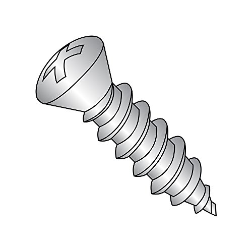 18-8 Stainless Steel Sheet Metal Screw, Plain Finish, #6 Trim Head 82 degrees Oval Head, Phillips Drive, Type A, #8-15 Thread Size, 3/4
