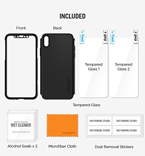 Spigen Thin Fit 360 iPhone X Case with Exact Slim Full Protection with 2 Packs of Tempered Glass Screen Protector for Apple iPhone X (2017) - Black by Spigen (Image #4)