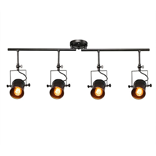 LALUZ Black Split Rail 4 Spotlight Track Lighting - Track Light Rail Kit