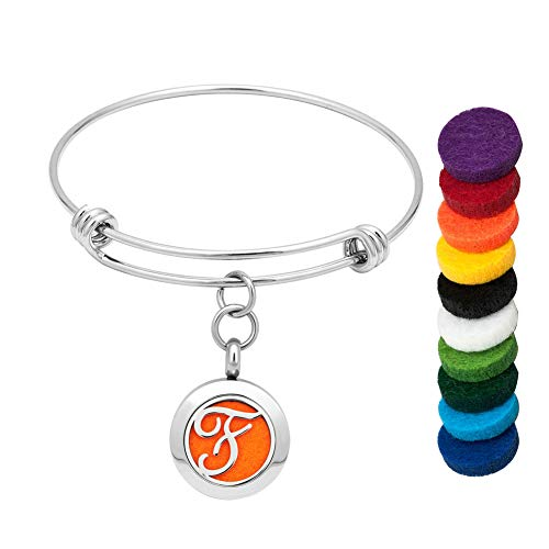 LoEnMe Jewelry Aromatherapy Essential Oil Diffuser Bracelet Charm Monogram Initial Letter F Bangle Gift for ()