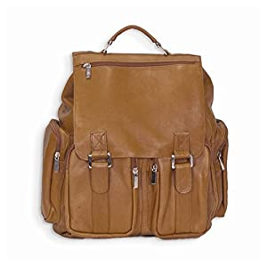 Jewelry Best Seller Tan Leather Back Pack w/ Laptop Sleeve