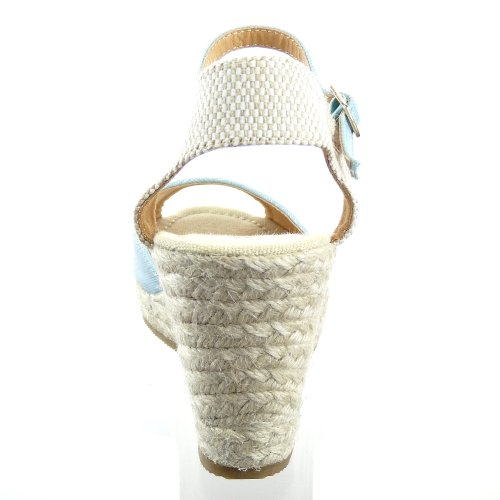 Kickly - Chaussure Mode Sandale Espadrille Plateforme cheville femmes corde Talon Compensé Plateforme 9 CM - Bleu/Beige