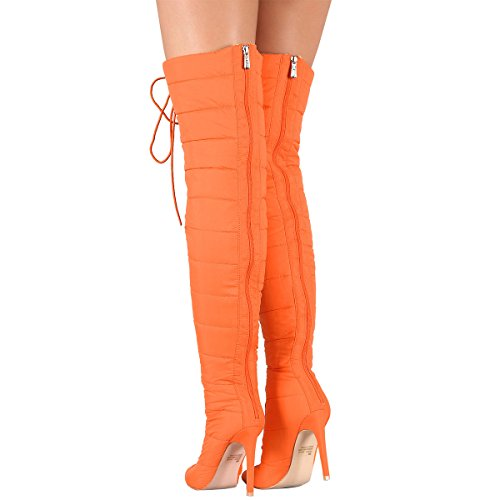 Cape Robbin Womens Pointy Toe Stiletto Heel Quilted Puffy Lace Up Over The Knee High Boots Orange pdI6UZqDNt