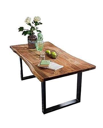 Sit Möbel Esstisch aus Akazie Massivholz mit Baumkante Stahlgestell ...
