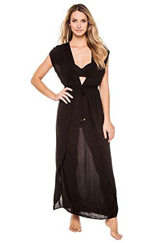 Elan International Women's Deep V Adjustable Waist Caftan Swim Cover Up Black L (Elan Swimwear)