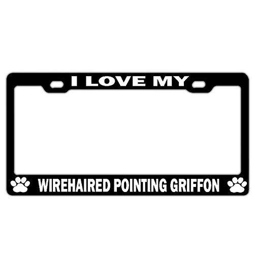 Crysss License Plate Frame Humor License Plate Cover Funny Auto Tag Holder Novelty Car Tag Holder 2 Hole and Screws - I Love My Wirehaired Pointing Griffon Black