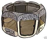 Pet Travel, Indoor or Outdoor Dog Cat Puppies Kitten Play Yard *Zebra* *Small*