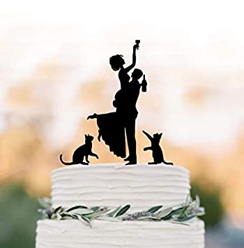 Divertida decoración para tarta de boda con dos gatos de silueta de novia, divertida figura decorativa para tarta: Amazon.es: Hogar