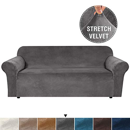 Luxurious Real Velvet High Stretch Sofa Cover/Slipcover Soft Spandex Form Fit Slip Resistant Stylish Furniture Cover Couch Covers Slip Covers Machine Wash, Sofa 3 Seater, Large Size, Grey (Couch Slipcover Gray)