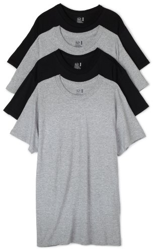 Fruit of the Loom Men's Crew Neck T-Shirt (Pack of 4), Black/Grey, XX-Large ()