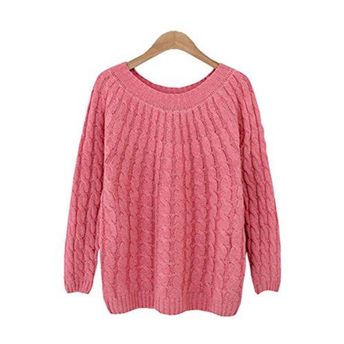 maglia pullover maglione donna autunno e casual inverno chic Rosa manica girocollo camicetta Oudan maglione Maglione lunga qtvUEE